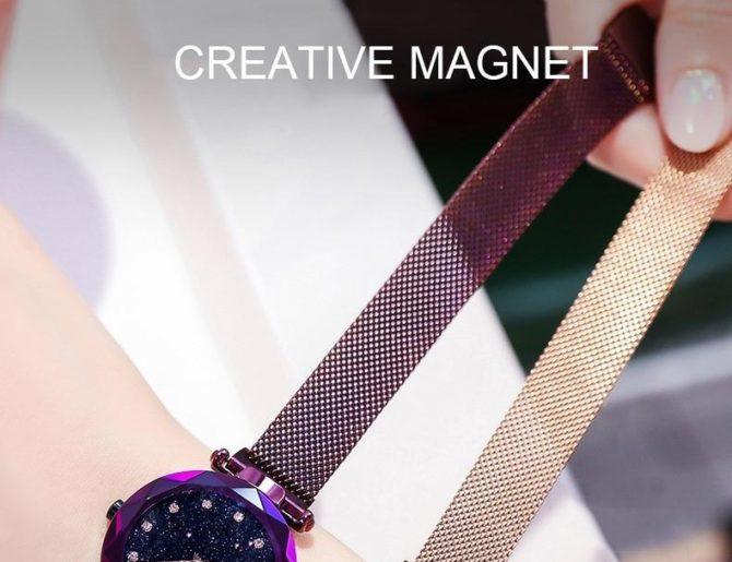 Luxury Rose Gold Women Watches Starry Magnetic Female Wristwatch Rhinestone Clock