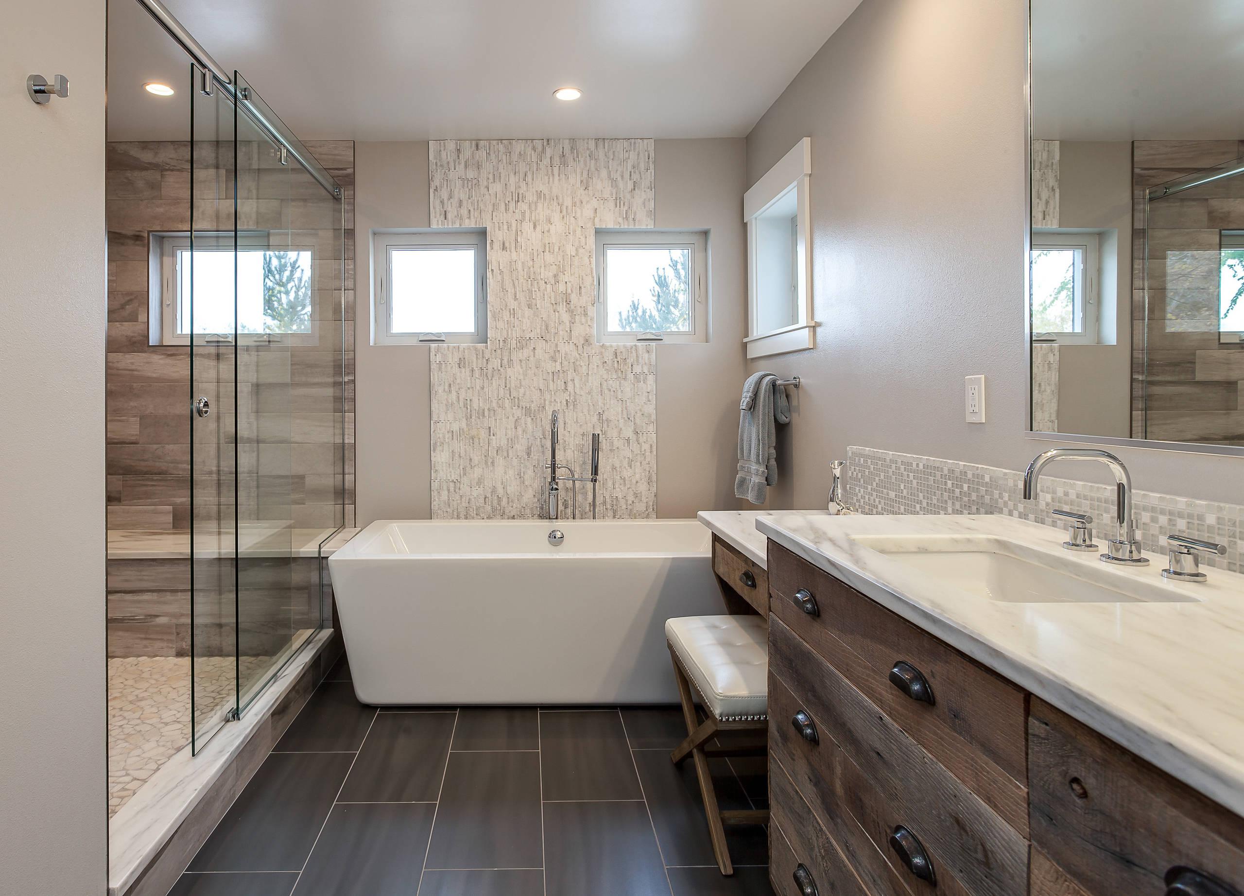 Rustic Luxury Bathroom Contrast