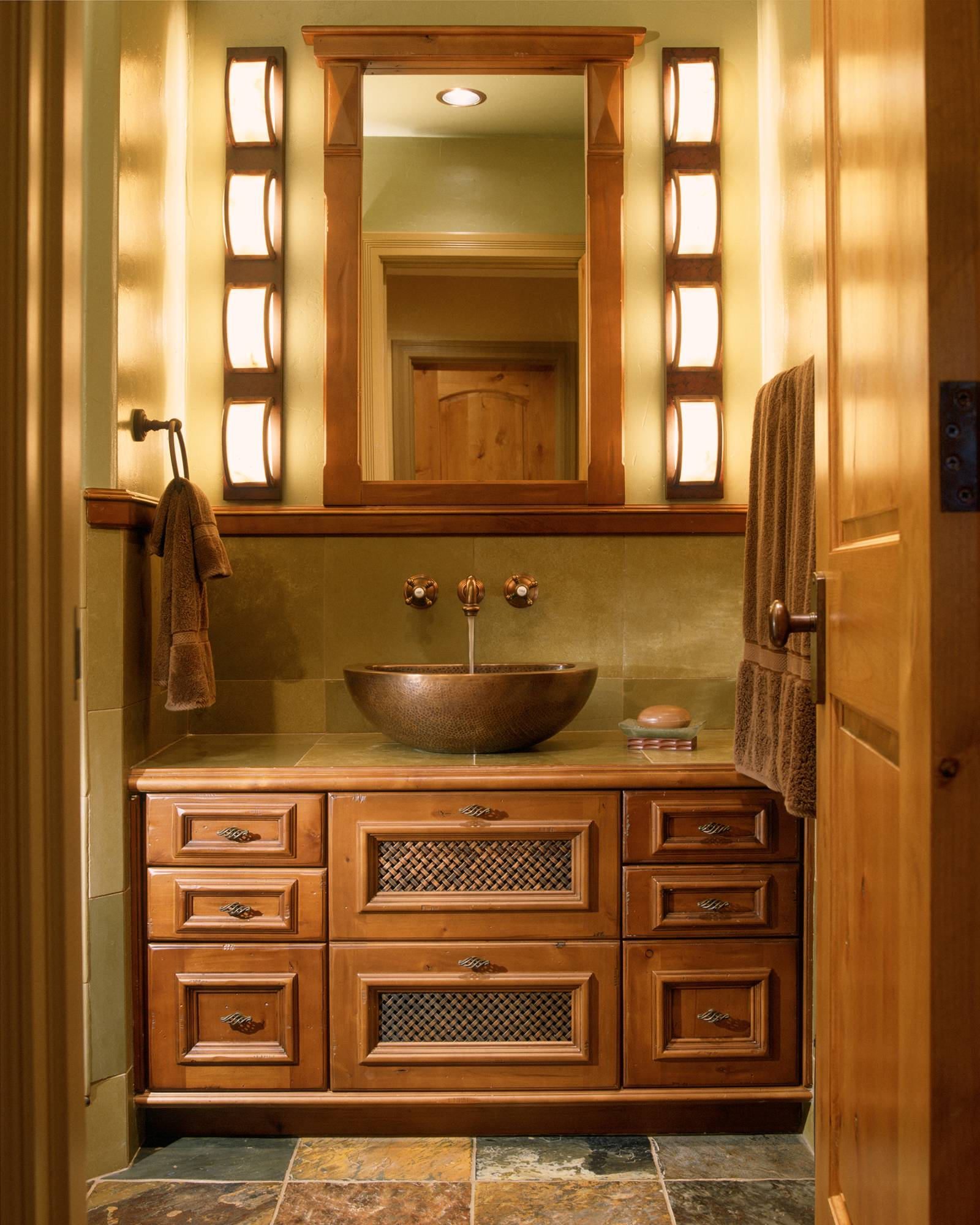 matching faucets with bathroom - copper accent