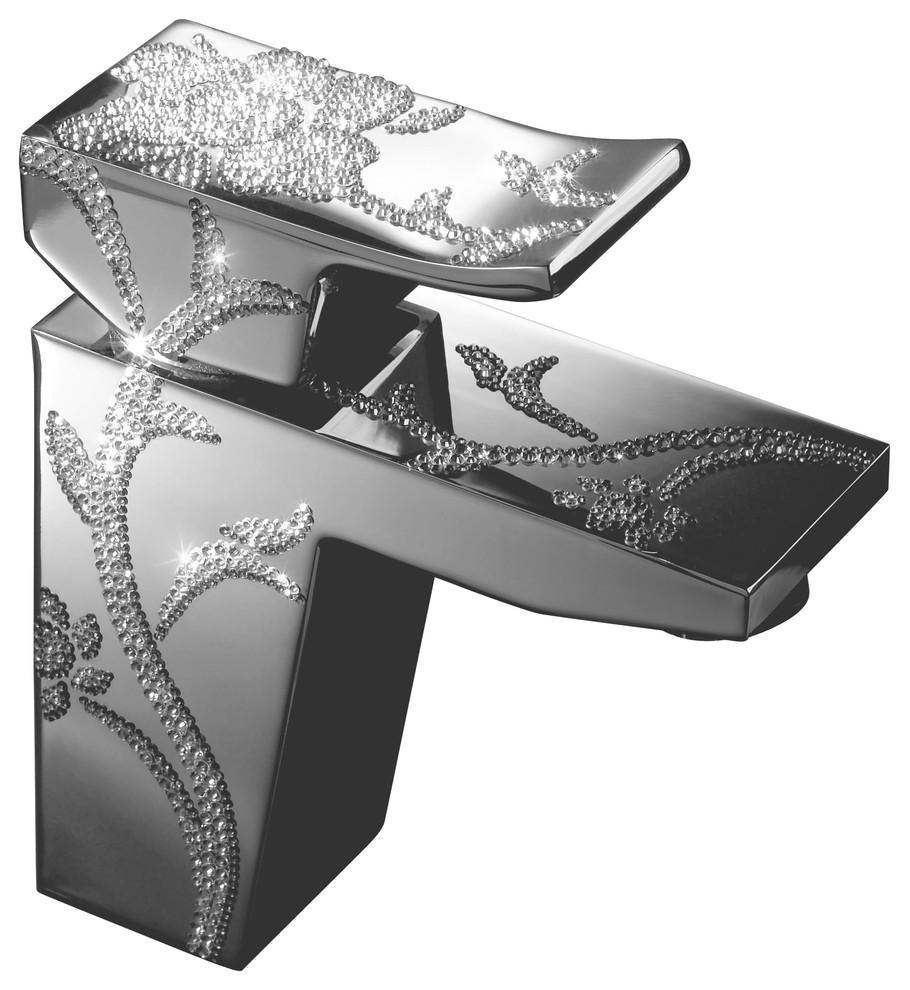 single handle faucet - luxury - chrome - swarovski crystal